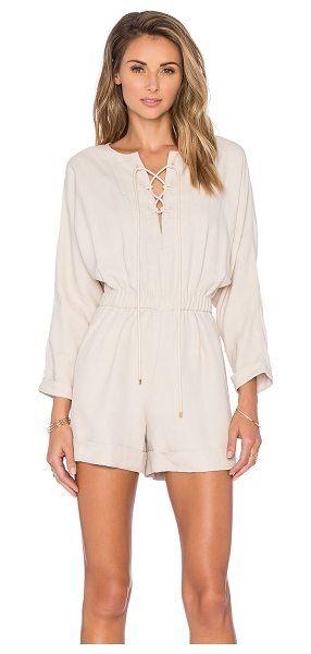 DEREK LAM 10 CROSBY Lace Up Romper in beige - Linen blend. Dry clean only. Front lace-up tie closures....