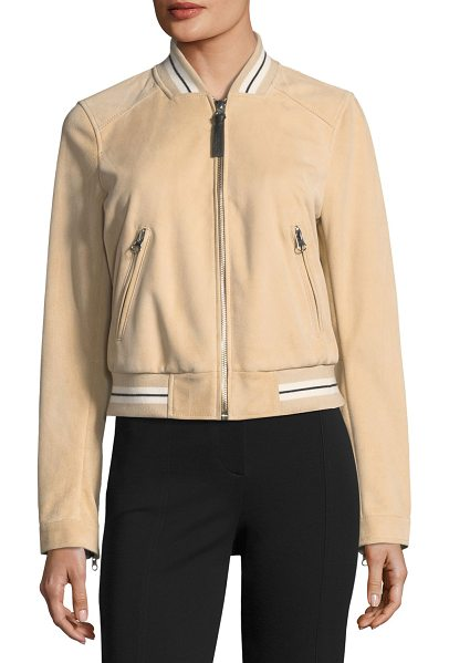 DEREK LAM 10 CROSBY Leather Suede Bomber Jacket w/ Striped Rib in butter/grey - Derek Lam 10 Crosby bomber jacket in dyed goat suede....