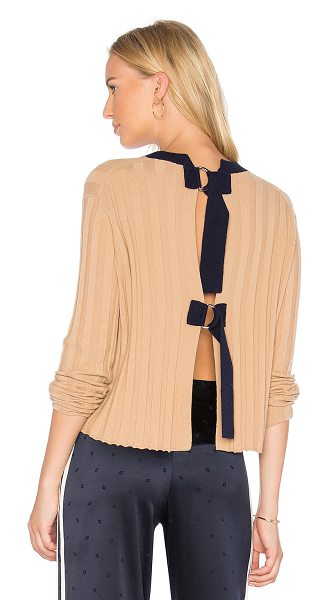 DEREK LAM 10 CROSBY Open Back Pullover in tan - 70% wool 30% cashmere. Dry clean only. Rib knit fabric....