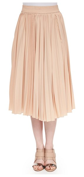 DEREK LAM 10 CROSBY Pleated chiffon midi skirt in nude