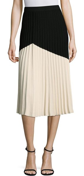 DEREK LAM 10 CROSBY pleated colorblock skirt in vanilla black - Pleated skirt in colorblock dimensions. Banded waist....