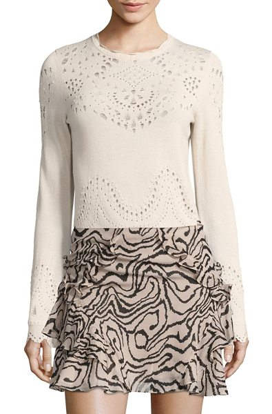 DEREK LAM 10 CROSBY pointelle cotton sweater in cream - Pretty eyelet trims highlight this vintage styled cotton...