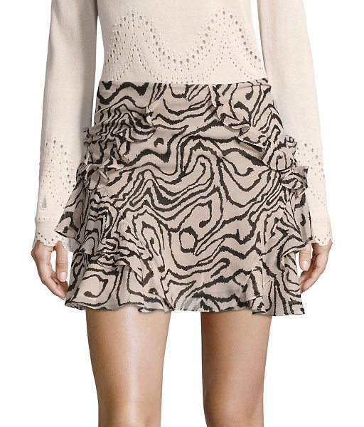 DEREK LAM 10 CROSBY ruffled silk mini skirt in stone