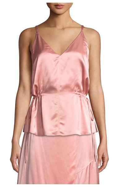 DEREK LAM 10 CROSBY Satin V-Neck Cami with Side Ties in coral