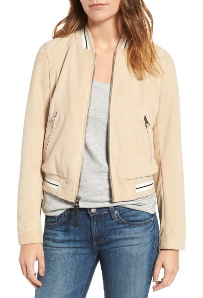 DEREK LAM 10 CROSBY suede varsity jacket in butter/ grey - Supple goat suede brings a velvety-soft feel to a...