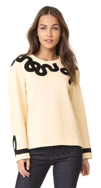 DEREK LAM 10 CROSBY sweater with ribbon trim in cream - This Derek Lam 10 Crosby sweater is trimmed with sinuous...