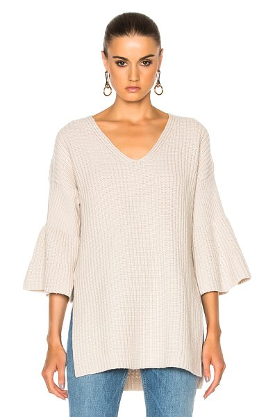 DEREK LAM 10 CROSBY V Neck Bell Sleeve Sweater in neutrals - 100% wool.  Made in China.  Dry clean only.  Rib knit...