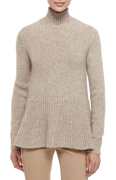 "DEREK LAM Alpaca peplum turtleneck sweater in camel - Derek Lam knit sweater. Approx. 29""L shoulder to hem,..."