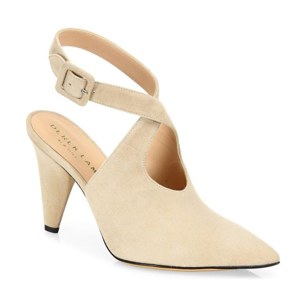 Derek Lam ana suede ankle-strap point toe pumps in sand - Suede point-toe slingback with crisscriss ankle strap....