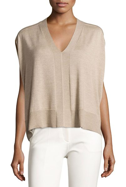 Derek Lam Colorblock Sleeveless Cocoon Sweater in oatmeal melange - Derek Lam cashmere-blend sweater with colorblock...