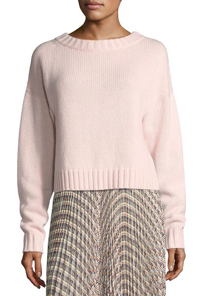 Derek Lam Cropped Cotton-Cashmere Sweater in pink - Derek Lam heavy-gauge knit sweater. Widely ribbed...