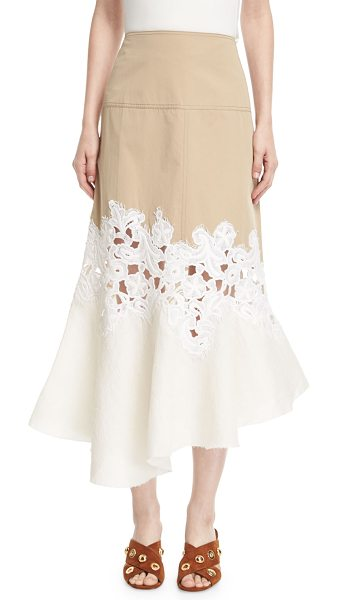 Derek Lam Lace-Inset Cotton Twill Midi Skirt in khaki - Derek Lam skirt in two-tone twill. Climbing floral lace...