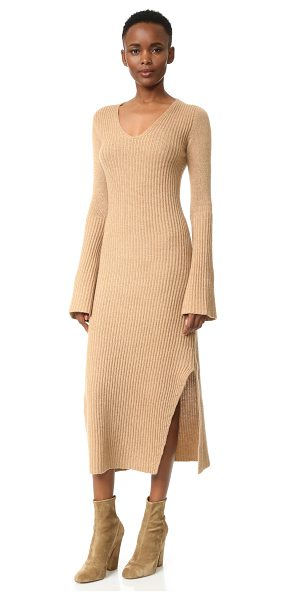 Derek Lam ribbed cashmere sweater dress in camel - A midi length Derek Lam sweater dress made from luxe...