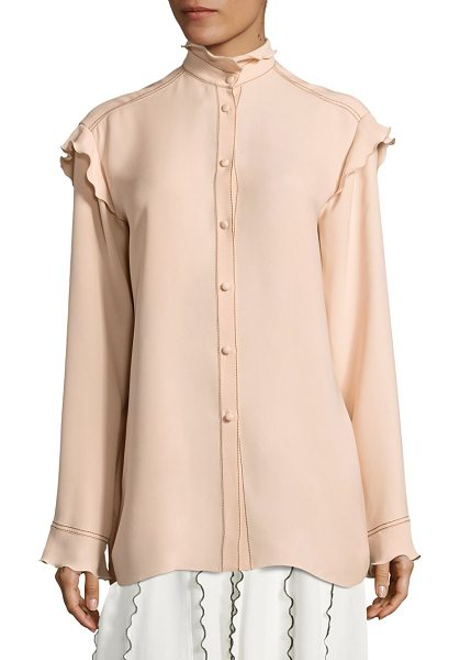 Derek Lam silk ruffle blouse in shell pink - Silk blouse with delicate ruffle trim. Mockneck. Long...