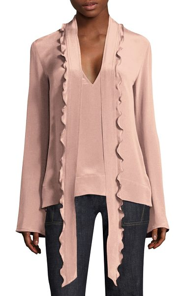 Derek Lam silk scarf tie blouse in blush - Silk blouse with ruffle scarf tie detail.V-neck. Long...
