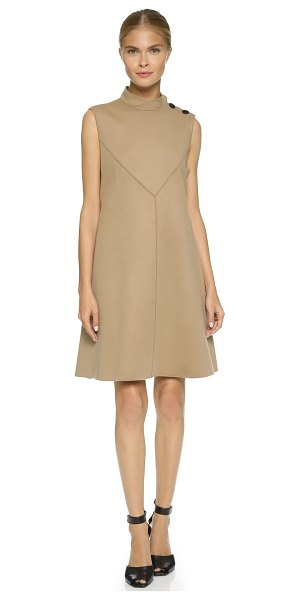 Derek Lam Sleeveless flare dress in camel - A mod Derek Lam shift dress with polished buttons at the...