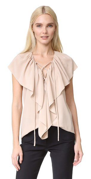 Derek Lam sleeveless ruffle blouse in sand - A cascading flounce overlay brings soft, graceful...