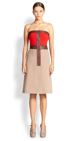 Derek Lam Strapless leather-trimmed dress in camel-red - A strapless A-line design in fine Italian wool, crafted...