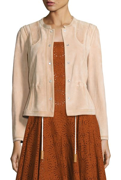 Derek Lam Suede Short Anorak Jacket in pink - Derek Lam calf suede anorak jacket with triple...