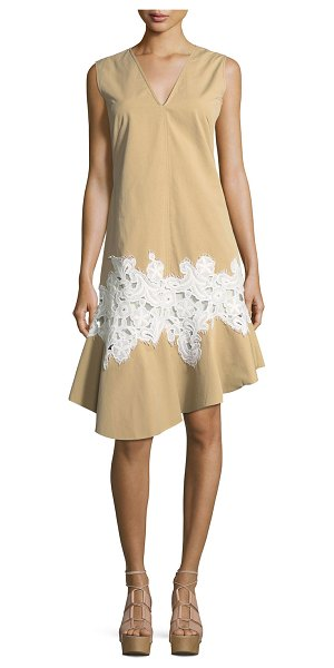 Derek Lam Twill Lace-Inset V-Neck Dress in khaki - Derek Lam dress in twill. Contrast floral lace inset at...