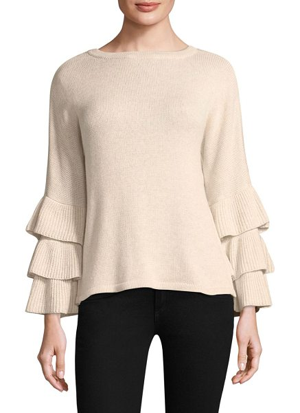 Design History exclusive ruffle sleeve sweater in biscotti - EXCLUSIVELY AT SAKS.COM.Chic sweater with ruffle detail....