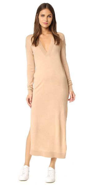 Designers Remix aza v neck sweater dress in light beige - A simple Designers Remix sweater dress, composed of...