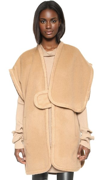 Designers Remix Panda poncho in camel - A chic Designers Remix poncho crafted in texture rich...