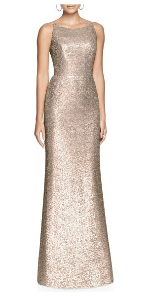 Dessy Collection bateau neck sequin gown in metallic - A blushing A-line gown coated with sequin shimmer makes...