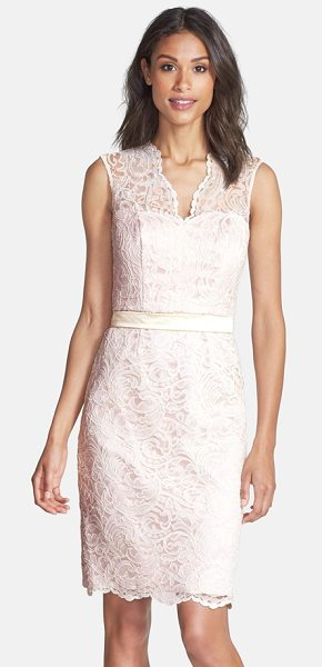 Dessy Collection lace overlay matte satin dress in ivory/ blush - Flourishing lace overlays a fitted matte-satin sheath in...