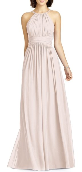 DESSY COLLECTION lux chiffon halter gown in blush - A strappy halter neckline and cutaway shoulders...