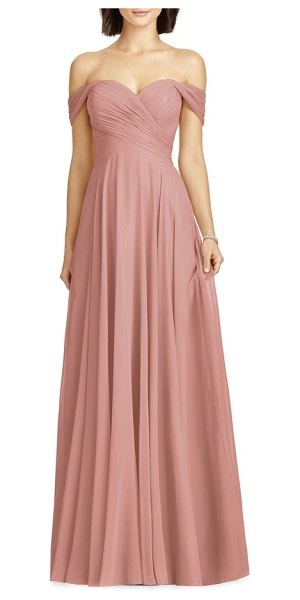 Dessy Collection lux off the shoulder chiffon gown in pink - Softly draped sleeves frame the sweetheart neckline of...