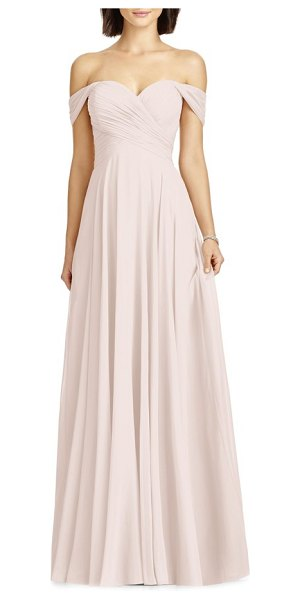 Dessy Collection lux off the shoulder chiffon gown in blush