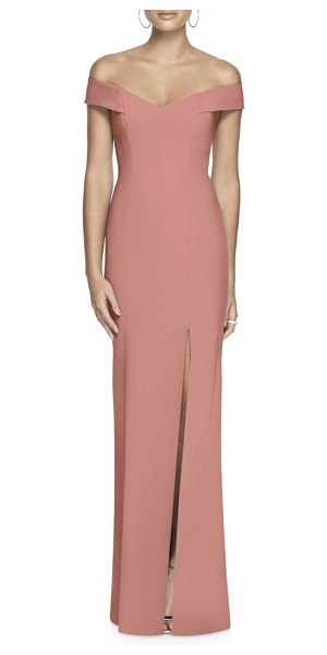 Dessy Collection off the shoulder crossback gown in pink