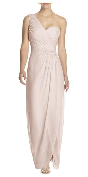 Dessy Collection one-shoulder draped chiffon gown in blush - Meticulous pleating creates rich texture at the...