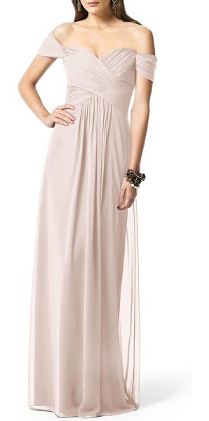 Dessy Collection ruched chiffon gown in pink - Softly draped cap sleeves barely touch the shoulders as...