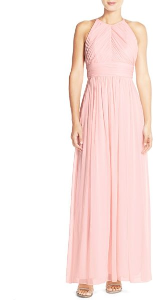 Dessy Collection ruched chiffon open back halter gown in blush - A lovely gown of delicate chiffon is shaped with lush...