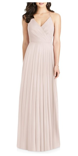 Dessy Collection ruffle back chiffon gown in pink - Creating a sophisticated, structured look, the surplice...