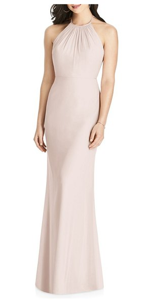 Dessy Collection ruffle back chiffon halter gown in pink