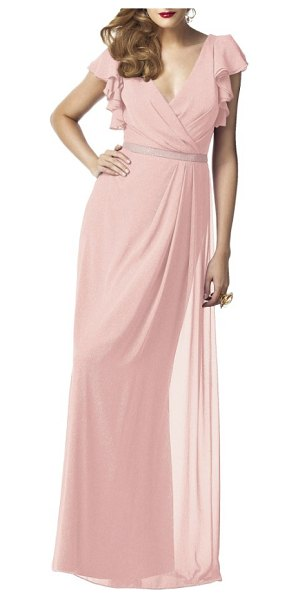 Dessy Collection sequin flutter sleeve gown in rose gold - A pleated surplice bodice and pleat-draped skirt bring...