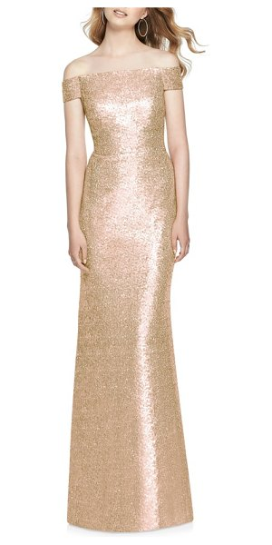 Dessy Collection sequin off the shoulder gown in metallic