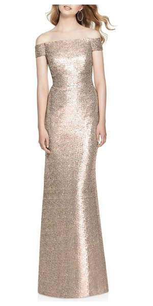 d322d58727194 Dessy Collection sequin off the shoulder gown in rose gold
