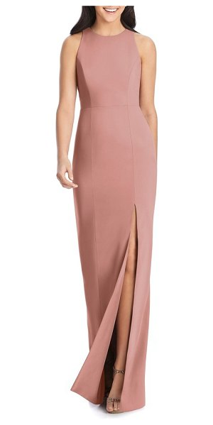 Dessy Collection sleeveless crepe gown in pink