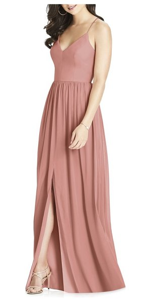 Dessy Collection spaghetti strap chiffon gown in pink