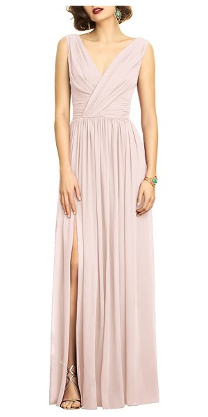 Dessy Collection surplice ruched chiffon gown in blush - A ruched surplice bodice evokes Old Hollywood glamour in...