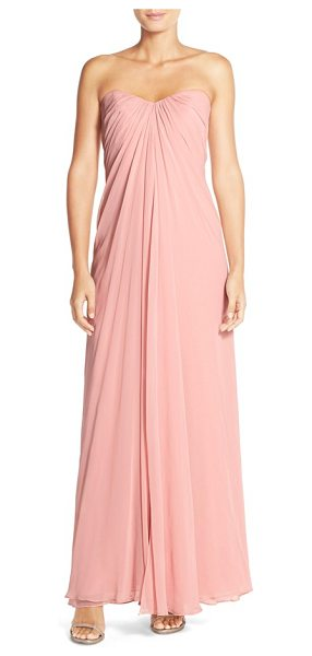 Dessy Collection sweetheart neck strapless chiffon gown in rose - A sculpted sweetheart neckline releases lushly draped...