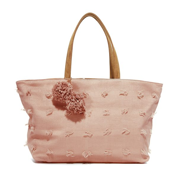 Deux Lux blossoms tote in blush - Soft, raised threads accent this subtly checked Deux Lux...