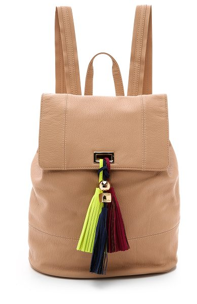 Deux Lux Karma backpack in blush - A trio of colorful tassels hangs from the top flap of...