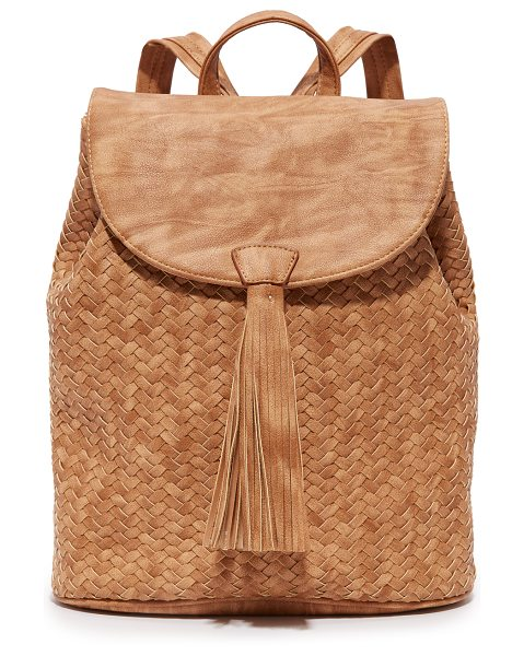 DEUX LUX Deux Lux Madison Backpack in honey - A woven front adds texture to this faux leather Deux Lux...