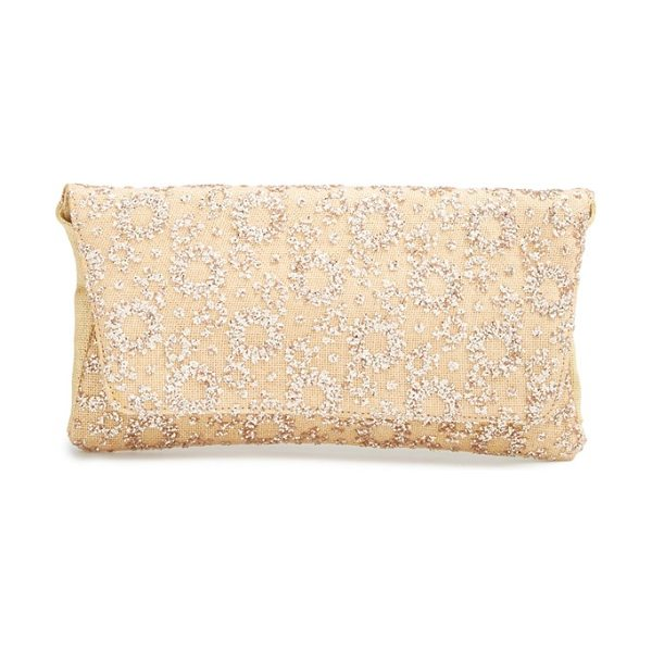 Deux Lux Mimosa glitter clutch in rose gold - Glittery geometric patterns flash and sparkle on a...