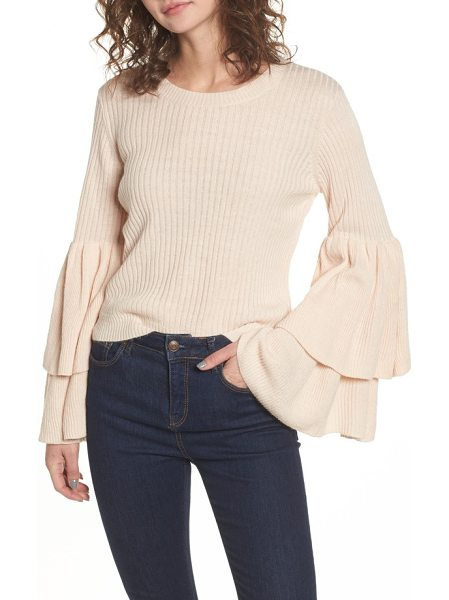 Devlin tiara bell sleeve sweater in blush - Dramatically ruffled bell sleeves update this ribbed...